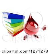 Clipart Of A 3d Hot Water Or Blood Drop Mascot Holding Up A Thumb And Stack Of Books Royalty Free Illustration