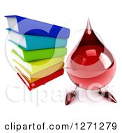 Clipart Of A 3d Hot Water Or Blood Drop Mascot Holding Up A Stack Of Books Royalty Free Illustration
