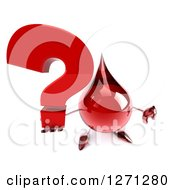Clipart Of A 3d Hot Water Or Blood Drop Mascot Giving A Thumb Down And Holding Up A Question Mark Royalty Free Illustration