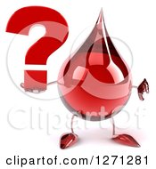 Clipart Of A 3d Hot Water Or Blood Drop Mascot Giving A Thumb Down And Holding A Question Mark Royalty Free Illustration