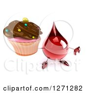 Clipart Of A 3d Hot Water Or Blood Drop Mascot Holding Up A Chocolate Frosted Cupcake And Thumb Down Royalty Free Illustration