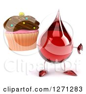 3d Hot Water Or Blood Drop Mascot Holding A Chocolate Frosted Cupcake And Thumb Down