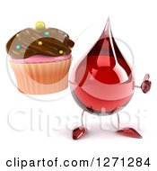 3d Hot Water Or Blood Drop Mascot Holding Up Thumb And A Chocolate Frosted Cupcake