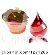 3d Hot Water Or Blood Drop Mascot Holding Up A Chocolate Frosted Cupcake