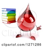 Clipart Of A 3d Hot Water Or Blood Drop Mascot Shrugging And Holding A Stack Of Books Royalty Free Illustration