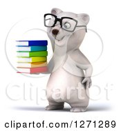 Clipart Of A 3d Bespectacled Polar Bear Facing Left And Holding A Stack Of Books Royalty Free Illustration