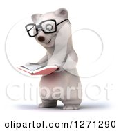 Clipart Of A 3d Bespectacled Polar Bear Facing Slightly Left And Reading A Book Royalty Free Illustration