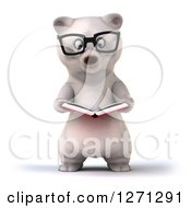 Clipart Of A 3d Bespectacled Polar Bear Reading A Book Royalty Free Illustration