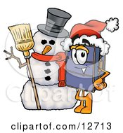 Clipart Picture Of A Suitcase Cartoon Character With A Snowman On Christmas by Toons4Biz