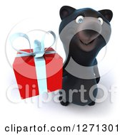 Clipart Of A 3d Black Bear Holding Up A Gift Royalty Free Illustration