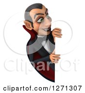 Clipart Of A 3d Dracula Vampire Smiling Around A Sign Royalty Free Illustration by Julos