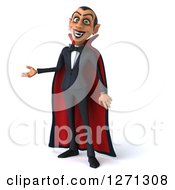 Clipart Of A 3d Dracula Vampire Presenting To The Left Royalty Free Illustration by Julos