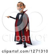 Clipart Of A 3d Dracula Vampire Pointing To The Left Royalty Free Illustration by Julos