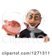 Clipart Of A 3d Dracula Vampire Holding A Piggy Bank Over A Sign Royalty Free Illustration by Julos