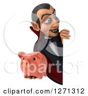 Clipart Of A 3d Dracula Vampire Holding A Piggy Bank Around A Sign Royalty Free Illustration by Julos