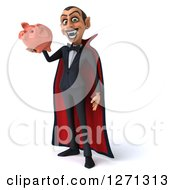 Clipart Of A 3d Dracula Vampire Facing Slightly Left And Holding A Piggy Bank Royalty Free Illustration by Julos