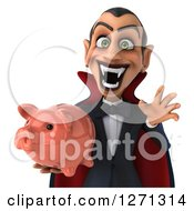 Clipart Of A 3d Scary Dracula Vampire Holding A Piggy Bank Over A Sign Royalty Free Illustration by Julos