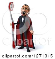 Clipart Of A 3d Full Length Dracula Vampire Grinning And Holding A Giant Toothbrush Royalty Free Illustration by Julos