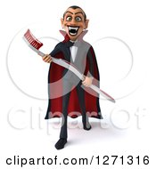Clipart Of A 3d Full Length Dracula Vampire Stepping Forward And Holding A Giant Toothbrush Royalty Free Illustration by Julos