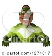 Clipart Of A 3d Happy Male Black Super Hero In Green Smiling Over A Sign Royalty Free Illustration