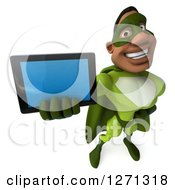 Clipart Of A 3d Male Black Super Hero In Green Holding Up A Tablet Royalty Free Illustration
