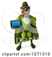 Clipart Of A 3d Male Black Super Hero In Green Holding Out A Tablet Royalty Free Illustration