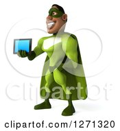 Clipart Of A 3d Male Black Super Hero In Green Facing Left And Holding Out A Tablet Royalty Free Illustration