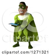 Clipart Of A 3d Male Black Super Hero In Green Using A Tablet Royalty Free Illustration