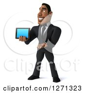 Clipart Of A 3d Handsome Black Businessman Facing Left And Presenting A Tablet Or Smart Phone Royalty Free Illustration