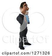 Clipart Of A 3d Handsome Black Businessman Facing Right And Holding Out A Tablet Or Smart Phone Royalty Free Illustration
