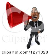 Clipart Of A 3d Handsome Black Businessman Announcing With A Megaphone Royalty Free Illustration