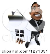 Clipart Of A 3d Handsome Black Businessman Holding Up A Silver House Royalty Free Illustration