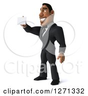 Clipart Of A 3d Handsome Black Businessman Facing Left And Holding Out A Business Card Royalty Free Illustration