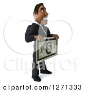 Clipart Of A 3d Handsome Black Businessman Facing Right And Holding A Giant Dollar Bill Royalty Free Illustration