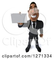 Clipart Of A 3d Handsome Black Businessman Holding Up A Business Card Royalty Free Illustration