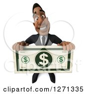 Clipart Of A 3d Handsome Black Businessman Holding Up A Giant Dollar Bill Royalty Free Illustration