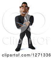 Clipart Of A 3d Handsome Black Businessman Using A Tablet Or Smart Phone Royalty Free Illustration