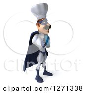 Clipart Of A 3d White And Blue Caucasian Male Super Chef Facing Right And Holding Out A Cell Phone Royalty Free Illustration