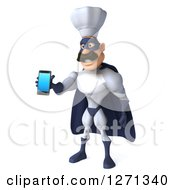 Clipart Of A 3d White And Blue Caucasian Male Super Chef Facing Slightly Left And Holding Out A Cell Phone Royalty Free Illustration