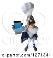 Clipart Of A 3d White And Blue Caucasian Male Super Chef Holding Up A Cell Phone Royalty Free Illustration