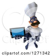 Clipart Of A 3d White And Blue Caucasian Male Super Chef Holding Up A Tablet Or Cell Phone Royalty Free Illustration