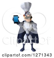 Clipart Of A 3d White And Blue Caucasian Male Super Chef Holding Out A Cell Phone Royalty Free Illustration