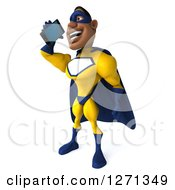 Clipart Of A 3d Black Super Hero Man In A Blue And Yellow Costume Facing Left And Talking On A Smart Phone Or Tablet Royalty Free Illustration