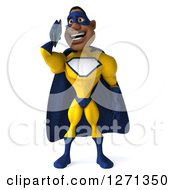 Clipart Of A 3d Black Super Hero Man In A Blue And Yellow Costume Talking On A Smart Phone Or Tablet Royalty Free Illustration