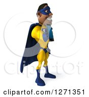 Clipart Of A 3d Black Super Hero Man In A Blue And Yellow Costume Facing Right And Holding Out A Smart Phone Or Tablet Royalty Free Illustration
