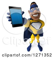 Clipart Of A 3d Black Super Hero Man In A Blue And Yellow Costume Holding Up A Smart Phone Or Tablet Royalty Free Illustration