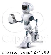 Clipart Of A 3d White And Blue Robot Walking To The Left And Holding Out A Silver Cloud Royalty Free Illustration