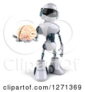 Clipart Of A 3d White And Blue Robot Holding Out A Brain Royalty Free Illustration