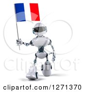 Clipart Of A 3d White And Blue Robot Walking Forward With A French Flag Royalty Free Illustration