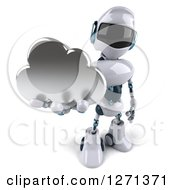 Clipart Of A 3d White And Blue Robot Holding Up A Silver Cloud Royalty Free Illustration